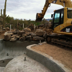 Pool and Rock Waterfall Construction