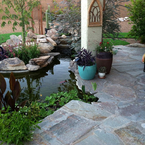 Koi Pond, Waterfall and Flagstone Patio