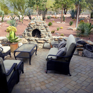 Patio Pavers with Rustic Stone Fireplace