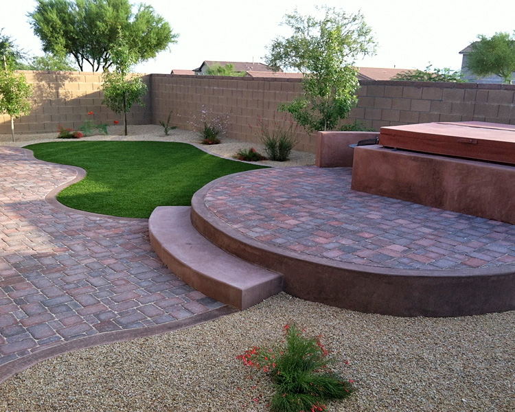Genial Backyard Pavers And Turf Oasis