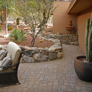 Patio Pavers and Rustic Stone Wall