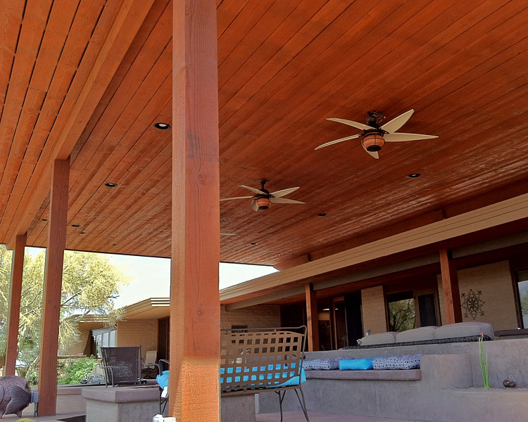 Gorgeous Wood Patio Cover With Ceiling Fans