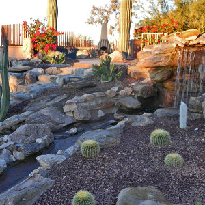 Tucson Rock Waterfall and Native Landscaping