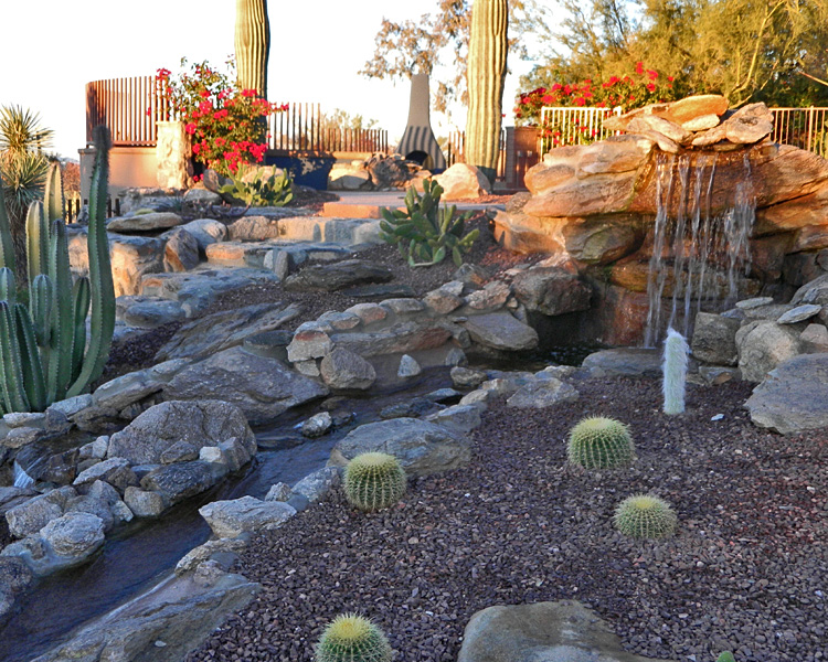 Tucson koi pond waterfall kmac landscaping construction for Landscaping rocks tucson