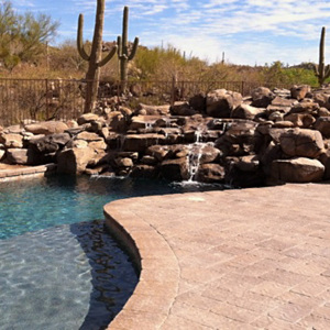 Waterfall, Pool & Pavers