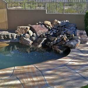 Rock Waterfall with Flagstone Decking