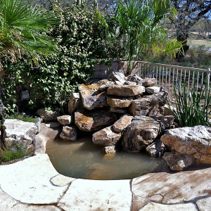Waterfall and Pond with Flagstone Decking